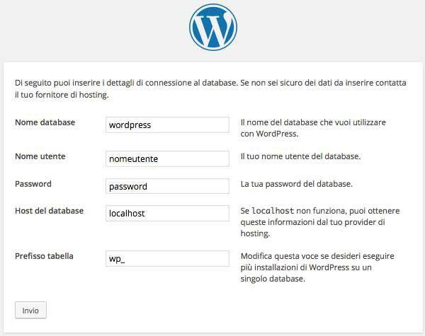 come installare wordpress dettagli connessione al database. Quatio informatica a torino